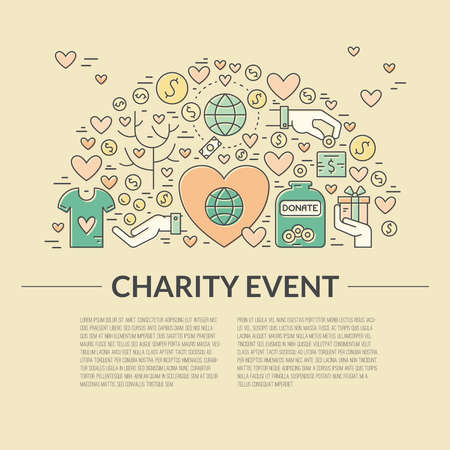 Card or poster template with charity and fundraising objects.