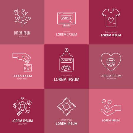non profit: Graphic elements for nonprofit organizations and donation centers. Illustration