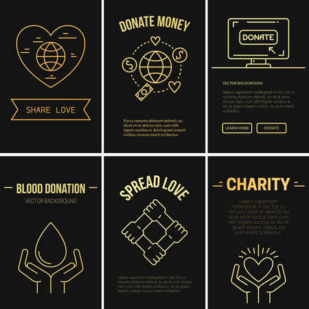 Collection of vector banner templates with charity objects. Vector Illustration