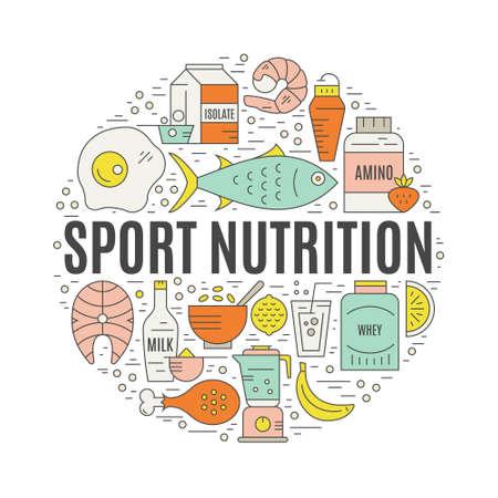 Creatieve illustratie van sportvoeding in vector. Stock Illustratie