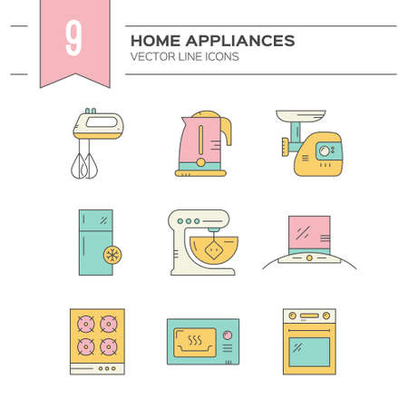 mincer: Set of kitchen appliances icons with household items. Illustration
