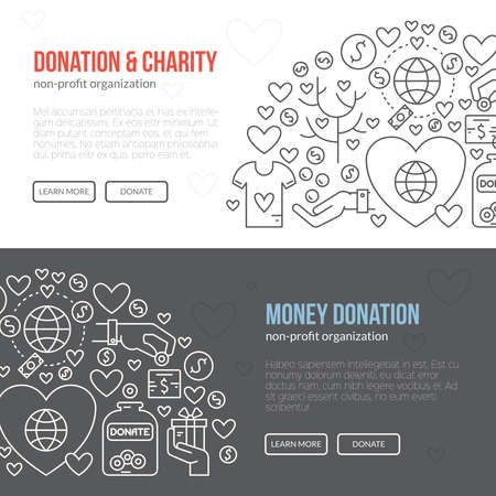 Banner template with charity and donation icons and symbols.