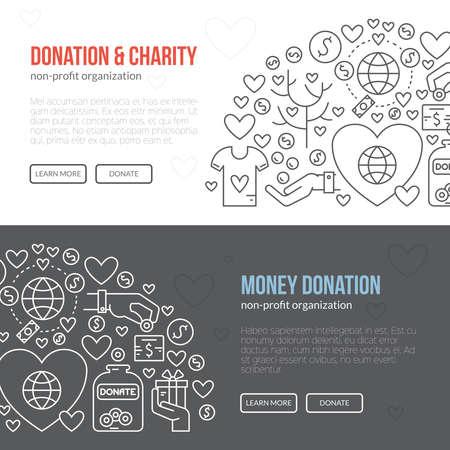 Modelo de la bandera con la caridad y la donación de iconos y símbolos.