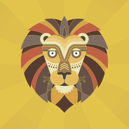 safari animal: Portrait of a lion made in trendy flat style vector. African animal. Safari label or t-shirt design with cute animal character. Illustration
