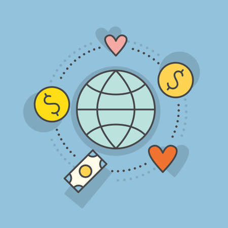 Globe surrounded by hearts and money - concept for donations, charity, fundraising. Vector line style label for non-profit organization or fundraising event.