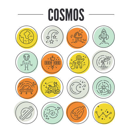 Big collection of uniue icons with different space objects including planets, alien, cosmonaut, solar system, rover. Line syle vector symbols of space and universe. Illustration