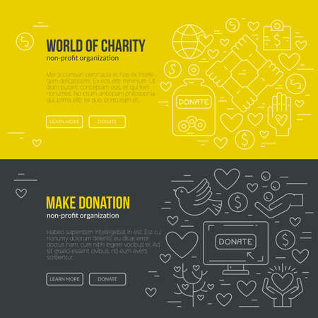 Banner template with charity and donation icons and symbols. Line style vector illustration. Charity work hro image or web site design for non-profit. Vettoriali