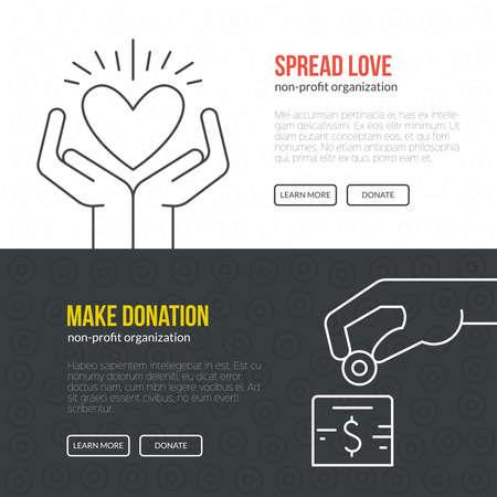 資金調達イベントまたは非営利団体のバナー テンプレートです。  イラスト・ベクター素材