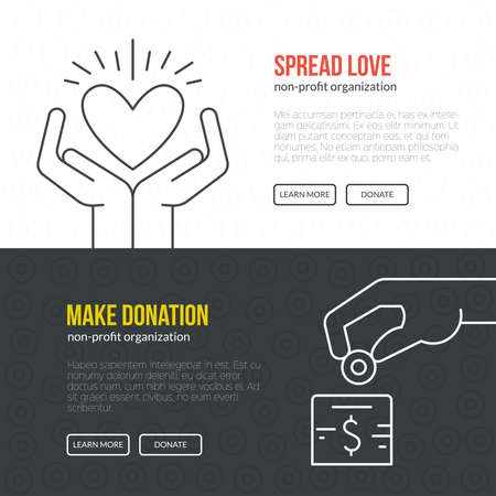 philanthropy: Banner template for fundraising event or non-profit organization.