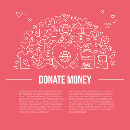 volunteering: Card or poster template with charity and fundraising objects. Illustration