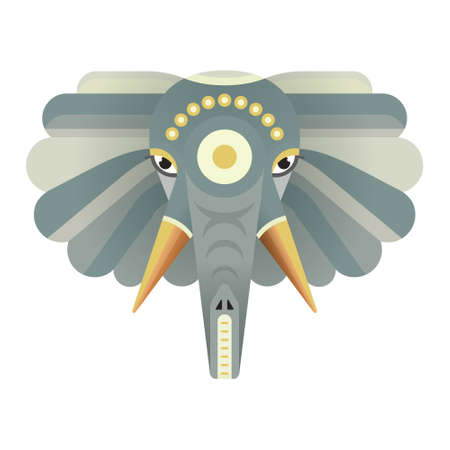 safari animal: Portrait of an elephant made in trendy flat style vector. African animal. Safari label or t-shirt design with cute animal character. Illustration