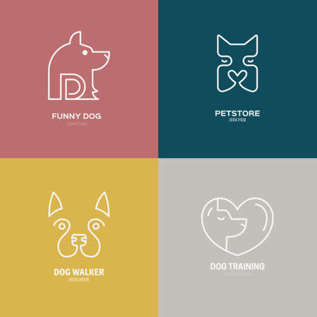 dog walker: Linear collection of dog logos.
