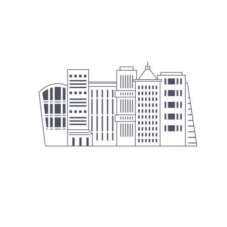office construction: Illustration of office buildings - cityscape made in trendy line style vector. Modern city skyline. Office buildings - graphic element for real estate or construction company. Modern life concept. Urban landscape.