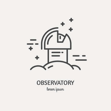 optical people person planet: Observatory logo made in trendy line stile vector.