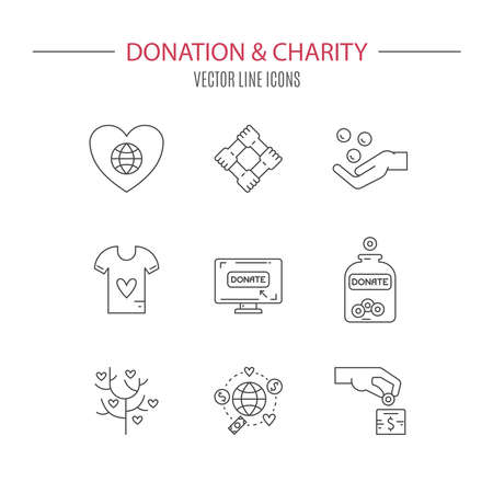 nonprofit: Graphic elements for nonprofit organizations and donation centres. Fundraising symbols made in vector. Crowdfunding project label. Vector line style pictograms. Illustration
