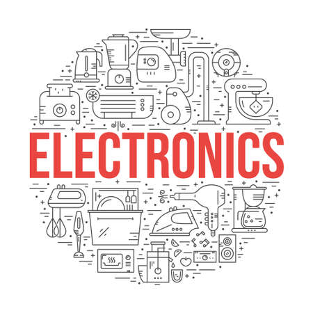 House appliances and electronics arranged in a circle with sign electronics.