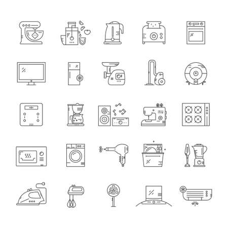 modern kitchen: Big collection of home appliances - vector line style illustration. Kitchen appliances and technology. Dishwasher, washing mashing, fan, toaster and other gear.