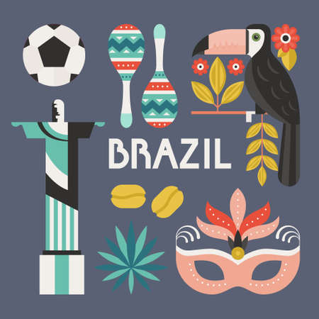 cristo: Vector collection of design elements with Brazil symbols. Modern flat style illustration.