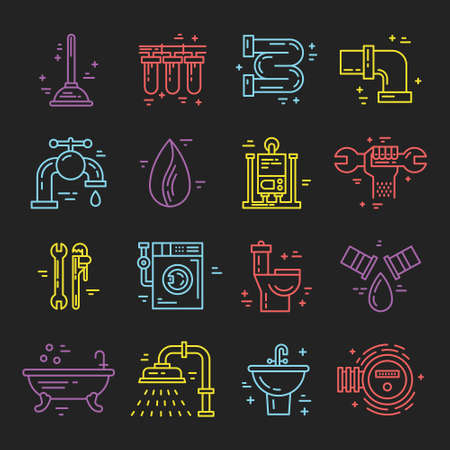 plumb: Collection of vector line icons with plumbing symbols. Modern illustrations of leak, pipes, faucet, handyman. Plumbing services. Illustration