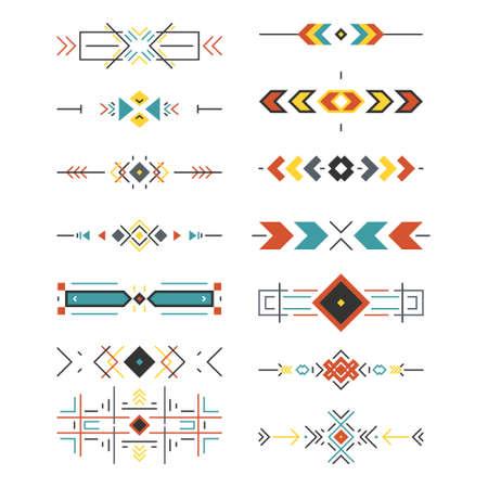 Colección de la frontera tribal hecho en vector moderno y limpio. arte estilo de línea. Ilustración de vector