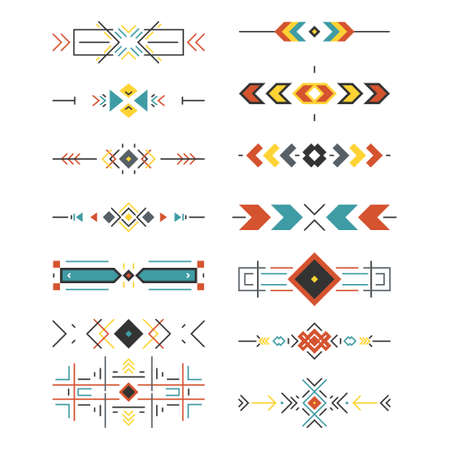 mexicans: Tribal border collection made in modern and clean vector. Line style art. Illustration