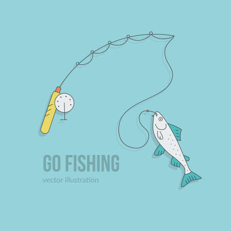 pictogramm: Vector illustration of a fishing rod with salmon. Go fishing concept.