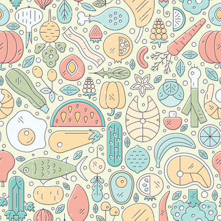 Vector seamless pattern with healthy food. Perfect background with fruits, vegetables, seafood - can be used as a background for menu, organic market.