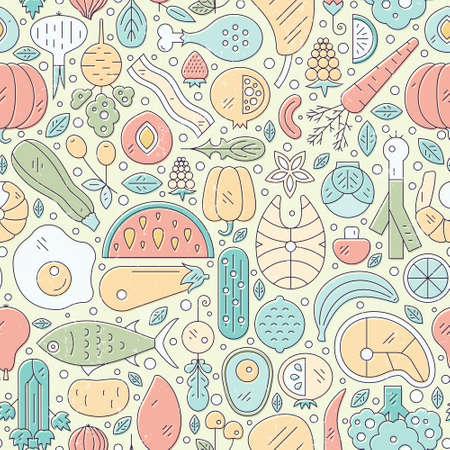 Vector sin patrón con comida saludable. fondo perfecto con las frutas, verduras, pescados y mariscos - se puede utilizar como un fondo para el menú, mercado de productos orgánicos. Foto de archivo - 54822334