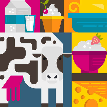 Milk industry flat icons and symbols made in vector, including butter, cow, milk, yogurt. Dairy products. Dairy farm elements for banner, template.