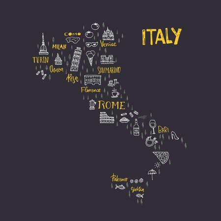 Handdrawn kaart van Italië met alle belangrijke symbolen en unieke belettering van de grote steden. Bezoek Italië concept. ontwerp poster of postkaart afbeelding. Vector Illustratie