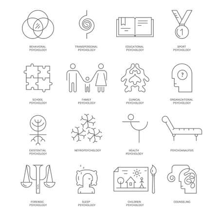 psychoanalysis: Modern line icons with different types of psychological process. Psychology schools and theories symbols, including school psychology, psychoanalysis, sleep.