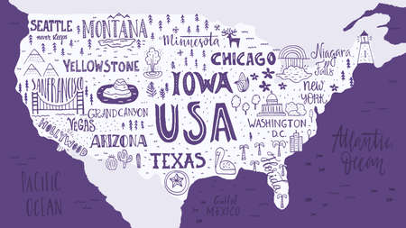 Handdrawn Ilration Of Usa Map With Hand Lettering Names Of States And Tourist Attractions Travel