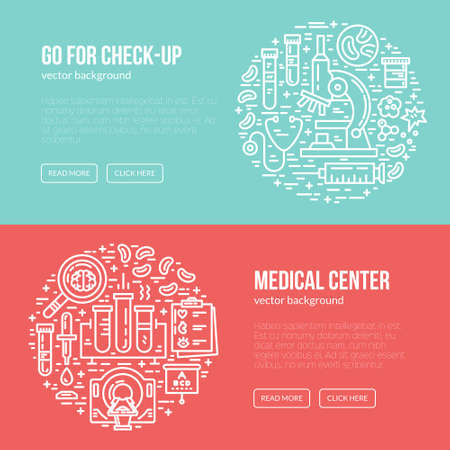 ct scan: Medical banner design template with different research symbols including MRI, scan, ultrasound. Place for your text. Medical check-up poster. Illustration