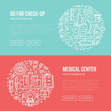 resonancia magnetica: plantilla médica diseño de banners con diferentes símbolos de investigación, incluyendo resonancia magnética, tomografía, ecografía. Lugar para el texto. chequeo médico cartel. Vectores