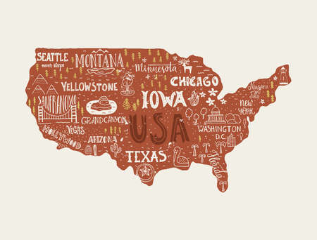 trip: USA map - handdrawn illustration with lettering and symbols of tourist attractions. Creative design element for tourist banner, apparel design, road trip event design. Illustration