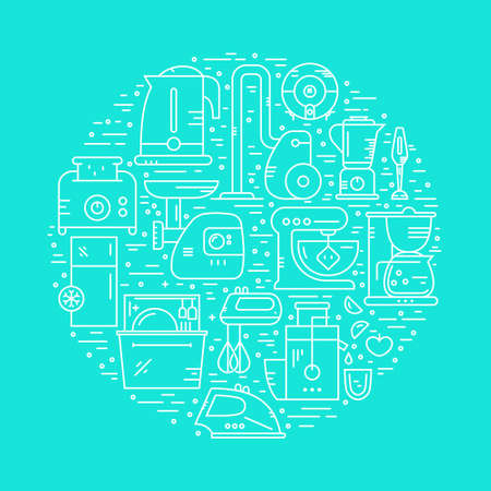arrange: Different house appliances and household gear arrange in a circle. Vector illustration for banner, flyer. House clipart element. Illustration