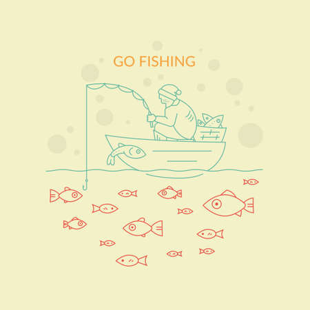 Fisherman in the boat catching fish. Modern line style cincept of man trying to achieve something. Illustration