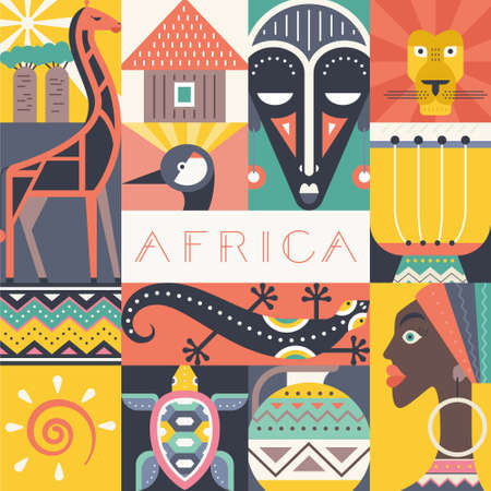 south african: Conceptual illustration of Africa with different african symbols made in flat vector style. Travel to africa banner template. Explore the world. Traditional african symbols isolated and easy to use. African design.