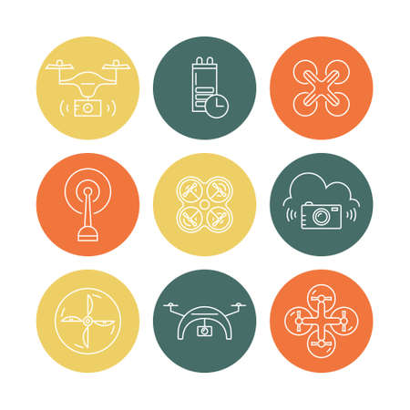 pictogramm: Icon collection with quadrocopter, hexacopter, multicopter and drone made in vector. Different views of drone and drone equipment. Set of linear drone icons.