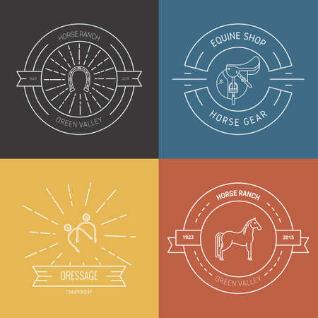 Hipster collection of logotypes with different horse and equine industry symbols. Labels for horseriding school or equestrian supplies shop. Vector line art. Logo