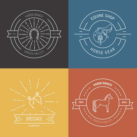 Hipster Sammlung von Logos mit verschiedenen Pferd und Pferdeindustrie Symbole. Etiketten für Hofreitschule oder Pferdesport liefert Shop. Vektor-Grafik. Logo
