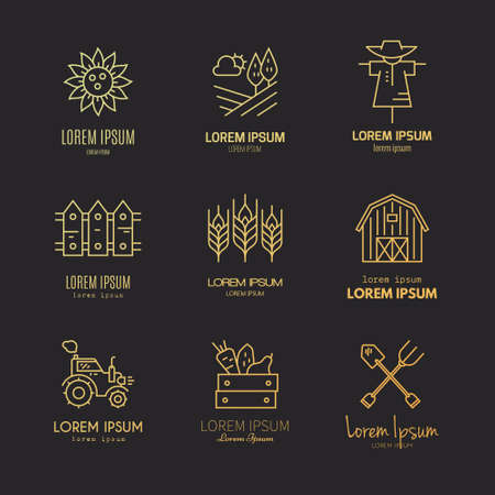 the label the market: Modern vector logo design with different agricultural and farming symbols. Modern easy to edit logo template.