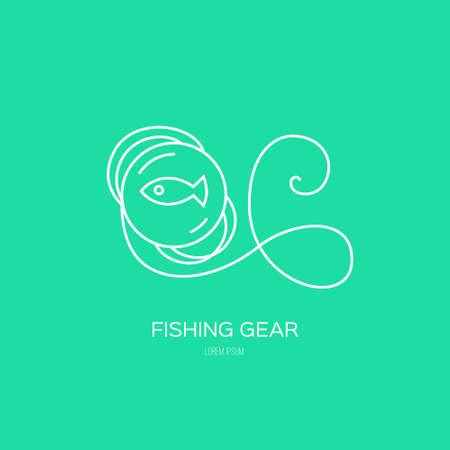 fishing line: Fishing line - fishing vector series. Fishing gear made in line style vector. Fishing line label or logo.