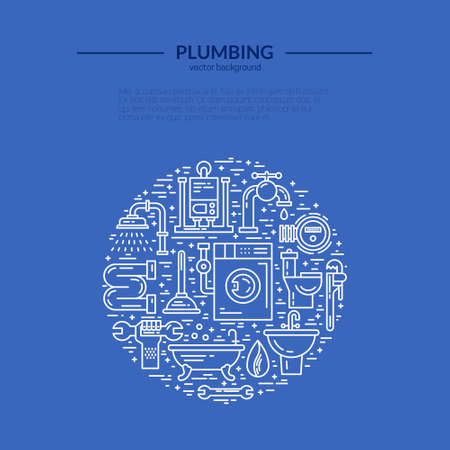 the leak: Line style vector illustration of plumbing services. Plumbing symbols - leak, pipe, wrench with place for your text. Plumber service banner template.