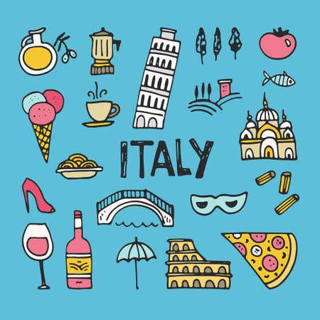 イタリアのシンボルのデザイン要素のセットです。イタリア ・ ピサの塔、コロッセオの手描きのシンボル。ベクトルでユニークなイラスト。