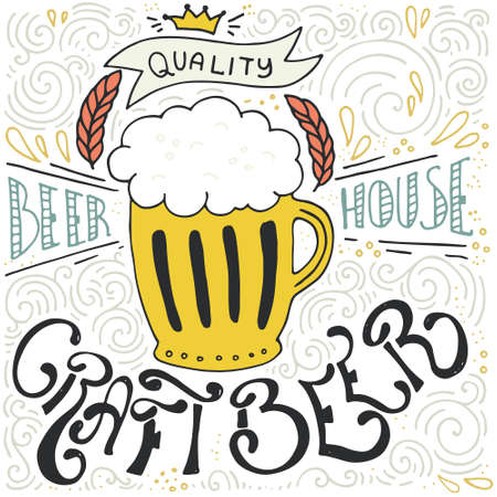 beer house: Handdrawin lettering for beer house with mug of craft beer. Vintage illustration. Great for pub menu, announcement of the beer festival or brewery poster.