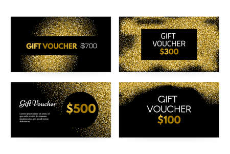 Gift voucher or gift certificate vector template with golden glitter - 100% vector. Premium gift card layout for your company. Gift coupon collection on golden background. Luxury gift voucher for any shop. Shopping certificate. Vip card.