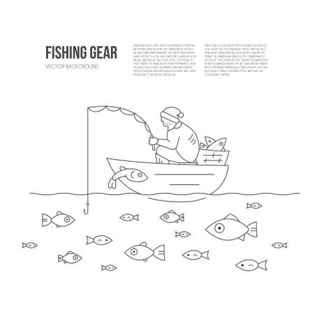 your text: Fisherman in the boat catching fish. Go fishing concept with place for your text. Line style illustration made in vector.