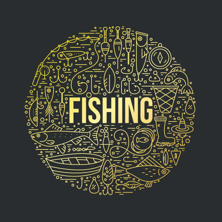 floater: Fishing gear with gold gradient. Different fishing equipment arranged in a circle. Fishing shop design element made in vector. Illustration