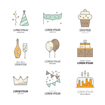 champagne celebration: Birthday cake, champagne, decoration, presents and other celebration symbols. Modern line style party icons.